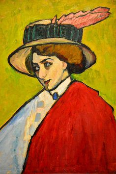 Gabriele Münter - Portrait of a Young Woman in a Large Hat, 1909 at The Courtauld Art Gallery at Somerset House London England