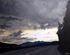 """columbia gorge 1 2015 . original $1,300  24"""" x 30"""" . acrylic Dramatic skies are common along the Columbia River. It's hard to match nature's grandeur."""