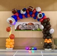 Let's Play theme balloon decor - Google Search Physical Activities For Preschoolers, Preschool Activities, Sports Birthday, Balloon Arch, Birthday Balloons, Balloon Decorations, Party Themes, Birthdays, Happy Birthday