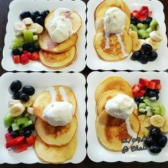 HotCake with ice-cream and mix fruits #hotcakes #icecream #fruits #lunch #dessert #happy