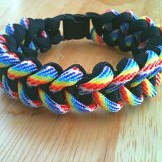 Rainbow and Black  Paracord survival bracelet