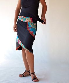 Women clothing/buttoms/skirts/Hand made applique/Knee length/ bi-material skirts/women dresses/gift ideas. $69.00, via Etsy.