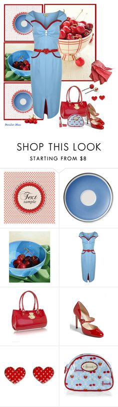 """""""Let me call you Sweetheart"""" by merlothues ❤ liked on Polyvore featuring Retrò, Villeroy & Boch, L.A.P.A., Charles by Charles David, Harrods, vintage, 1950s, pinup, rockabilly and wiggledress"""