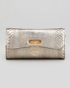Riviera Antique Python Clutch, Silver by Christian Louboutin at Bergdorf Goodman.