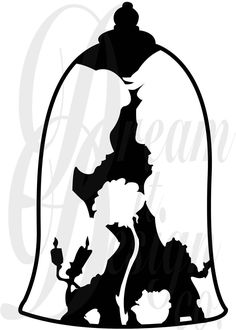 Disney beauty and the beast design for silhouette studio, cut files, clip art, includes silhouette f Silhouette Cameo Projects, Silhouette Design, Silhouette Studio, Disney Silhouette Art, Princess Silhouette, Silhouette Cameo Vinyl, Deco Disney, Disney Art, Disney Decals