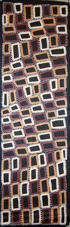 Walala Tjapaltjarri   Tingari Cycle   Acrylic on linen  46 x 152cm. i used this along the borders in the hall ways