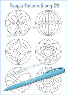Strings for drawing zentangle patterns in the circle, templates for drawing zentangle patterns, tangle pattern Digital string printable. Doodle Monster, Zentangle Drawings, Zentangle Patterns, Zentangles, Easy Zentangle, Quilt Patterns, String Art Templates, Cd Crafts, Circle Template