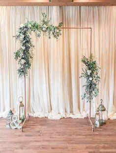 Wedding Backdrop Diy Ceremony Altars Simple New Minimalist Wedding Copper Wedding Arch Arbor Greenery Wedding