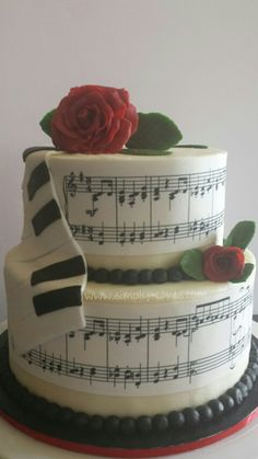 Music and roses birthday cake Www.facebook.com/simplycakes.brittneyshiley