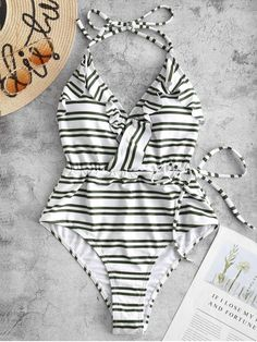 6416ad12d4605 [20% OFF] 2019 ZAFUL Striped Halter Ruffle Backless Swimsuit In FERN GREEN S