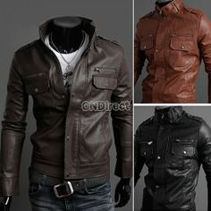 Men\'s Slim Stylish Synthetic Leather Fit Zip Casual Coat Jackets