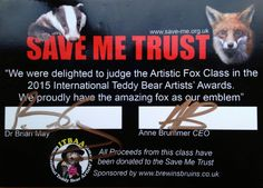 I was thrilled that Dr Brain May the guitarist from the Rock Band Queen chose my fox to win class 5 in the INTBAA, hosted by Brewin's Bruins Hampshire. I also won best in show and International Teddy Bear artist having won it the previous year in Hampshire, Bears, Teddy Bear, Hampshire Pig, Bear