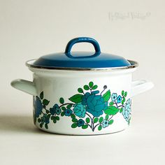 Vintage Retro 1970s Blue & Green Floral Enamel Saucepan Casserole with Blue Lid by UpStagedVintage on Etsy