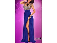 Rochie lunga albastra cu crapatura pe picior Fancy Prom Dresses, Formal Dresses, Backless, Fashion, Dresses For Formal, Moda, Formal Gowns, Fashion Styles, Formal Dress