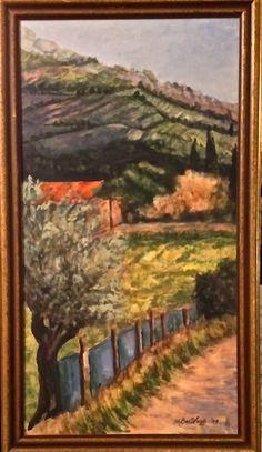 """Near Via Senese""-vertical Original Gouache/panel-framed Available through artist Contact: MB.artwork@verizon.net"