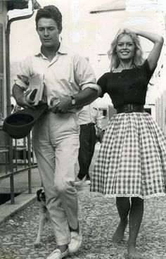 Brigitte Bardot with her second husband Jacques Charrier on the set of Will You Dance With Me?, 1959