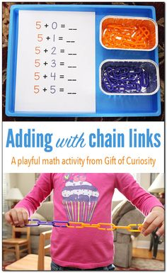 Adding with colored chain links is a fun, hands-on, and playful math activity for working on addition facts. Plus, it develops fine motor skills too! Love this math activity for preschoolers and kindergartners. Gift of Curiosity Subtraction Activities, Math Activities For Kids, Math For Kids, Fun Math, Educational Activities, Preschool Ideas, Math Games, Elementary Math, Kindergarten Math