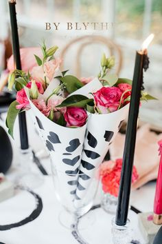 Bold and Beautiful: How to host your 'Gals' for Galentines Day Cerise Pink, Black Singles, Champagne Flutes, Chocolate Dipped, Candlesticks, Table Runners, Party Favors, Gold Cutlery, Brunch