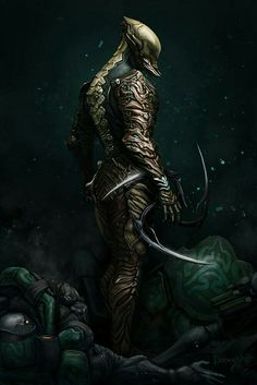 Dilbani warrior, Quitho Xelopi. His armor made from the bones of a rare beast on Dilban, the Yoncrett.