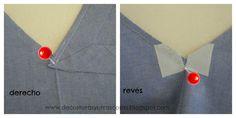 colocar-vistas-escote Sewing Basics, Sewing Hacks, Sewing Tutorials, Tutorial Sewing, Bag Patterns To Sew, Dress Sewing Patterns, Sewing Collars, Sewing Machine Repair, Sewing Circles