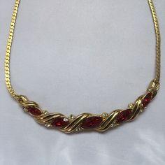 Stunning Vintage Gold Tone Red Diamanté Necklace