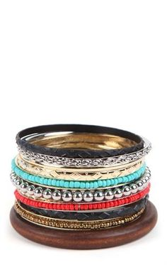 Deb Shops Mixed Bangles Set with Wood, Metal and Stone $7.50