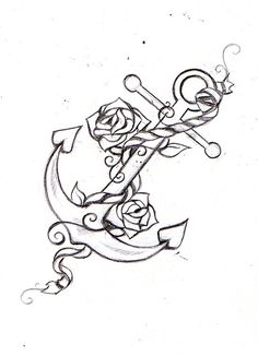 Anchor in all black, rope in ivory, and a red rose.