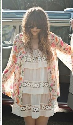so pretty and romantic - the floral sheer kimono and flounced, lacy tunic/dress