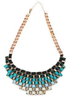 Fluorescent Blue Bib Knitted Collar Necklace