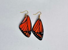 Check out Handcrafted Butterfly Wing Earrings, Jewelry, 14k gold, Hypoallergenic or Sterling Silver, Painted front and back, Fish Hook Earrings on dougwalpusartstudio