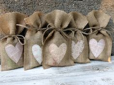 Shabby Chic Rustic Wedding Favor Burlap Gift Bags by alifesosimple
