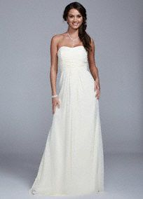 You will effortlessly speak volumes in this simple and sweet wedding dress!  Strapless ruched bodice features ultra-feminine sweetheart neckline.  Long soft chiffon material gives this dress a whimsical feel. White available online and in stores. Ivory available online only. Fully lined. Back zip. Imported polyester. Dry clean.  To protect your dress, try our Non Woven Garment Bag.