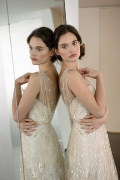 """The """"Talia"""" Amsale Spring 2016 - Hand beaded low V-neck slim gown."""