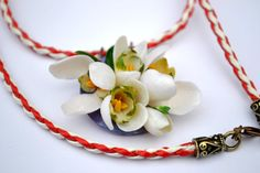 Snowdrops Medium Necklace OOAK by Herina on Etsy Panna Cotta, Trending Outfits, Unique Jewelry, Medium, Handmade Gifts, Ethnic Recipes, Etsy, Food, Kid Craft Gifts