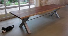 Reclaimed black walnut wood dining table by by mossdesignchicago