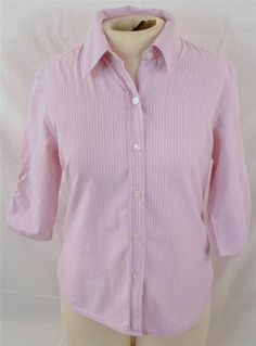 NY Jeans Ladies Size Medium 3/4 Sleeve Pink Striped 100% Cotton Blouse