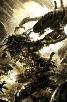 Alien Versus Predator By Raymond Swanland