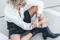white shirt, leather skirt, henry kole boots