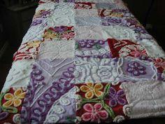 Vintage Chenille Patchwork Quilt