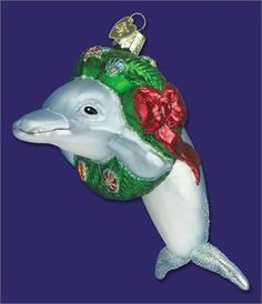 "Christmas Dolphin   ""Old World Christmas"" Glass Ornament  4 ½""  Retail  $19.99"