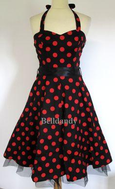 Robe Dos Nu Pin-Up Rétro 50's Pois Noir Rouge - Vetements Femme - La