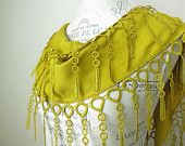Embellished mustard yellow lace scarf $14.90