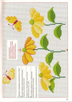 Flowers worked in cross-stitch Butterfly Stitches, Butterfly Cross Stitch, Cross Stitch Borders, Cross Stitch Flowers, Cross Stitch Charts, Cross Stitch Designs, Cross Stitching, Cross Stitch Embroidery, Cross Stitch Patterns