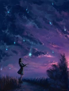 Image shared by Debra Hollingsworth. Find images and videos about art, sky and night on We Heart It - the app to get lost in what you love. Fantasy World, Fantasy Art, Falling Stars, Art Graphique, Night Skies, Anime Art, Digital Art, Digital Paintings, Street Art