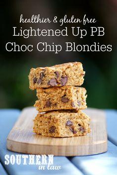 Gluten Free Lightened Up Peanut Butter Chocolate Chip Blondies Recipe - gluten free, healthy, low fat, low sugar, low calorie, healthy blondies recipe