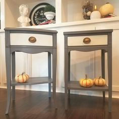 Vintage Nightstands Painted in General Finishes Driftwood and Antique White by The Painted Table Boutique