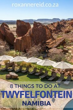 Discover 8 reasons to visit Twyfelfontein Country Lodge in Kunene (Damaraland), Namibia, from sights like Burnt Mountain, the Organ Pipes, Petrified Forest and Twyfelfontein engravings, to visiting the Damara Living Museum, bush walking or seeing desert e