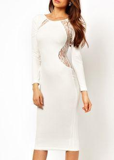 Graceful Lace Splicing Long Sleeve White Sheath Dress