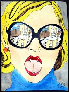 Marilyn Monroe reflection in sunglasses pop art.