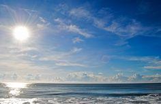Deep Blue Sea against clear skies, a beautiful morning in Mahabalipuram, Tamil Nadu, India